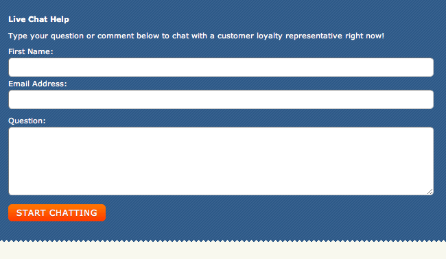 screenshot of zappos chat intake form