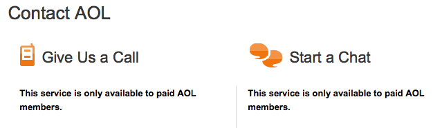 this is a screenshot of the AOL contact page